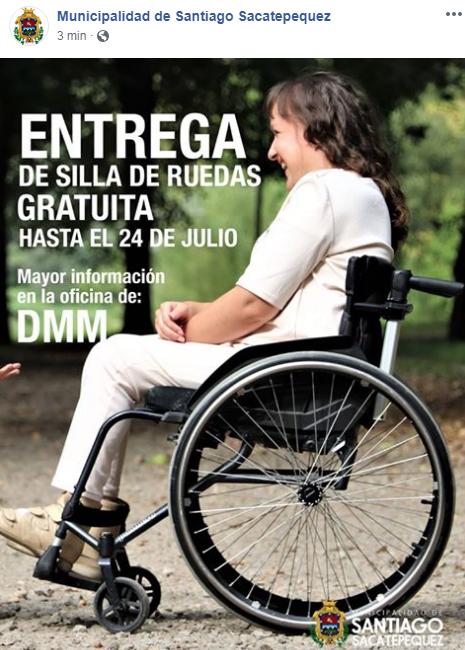 Regalarán sillas de ruedas a guatemaltecos de escasos recursos en Santiago Sacatepéquez