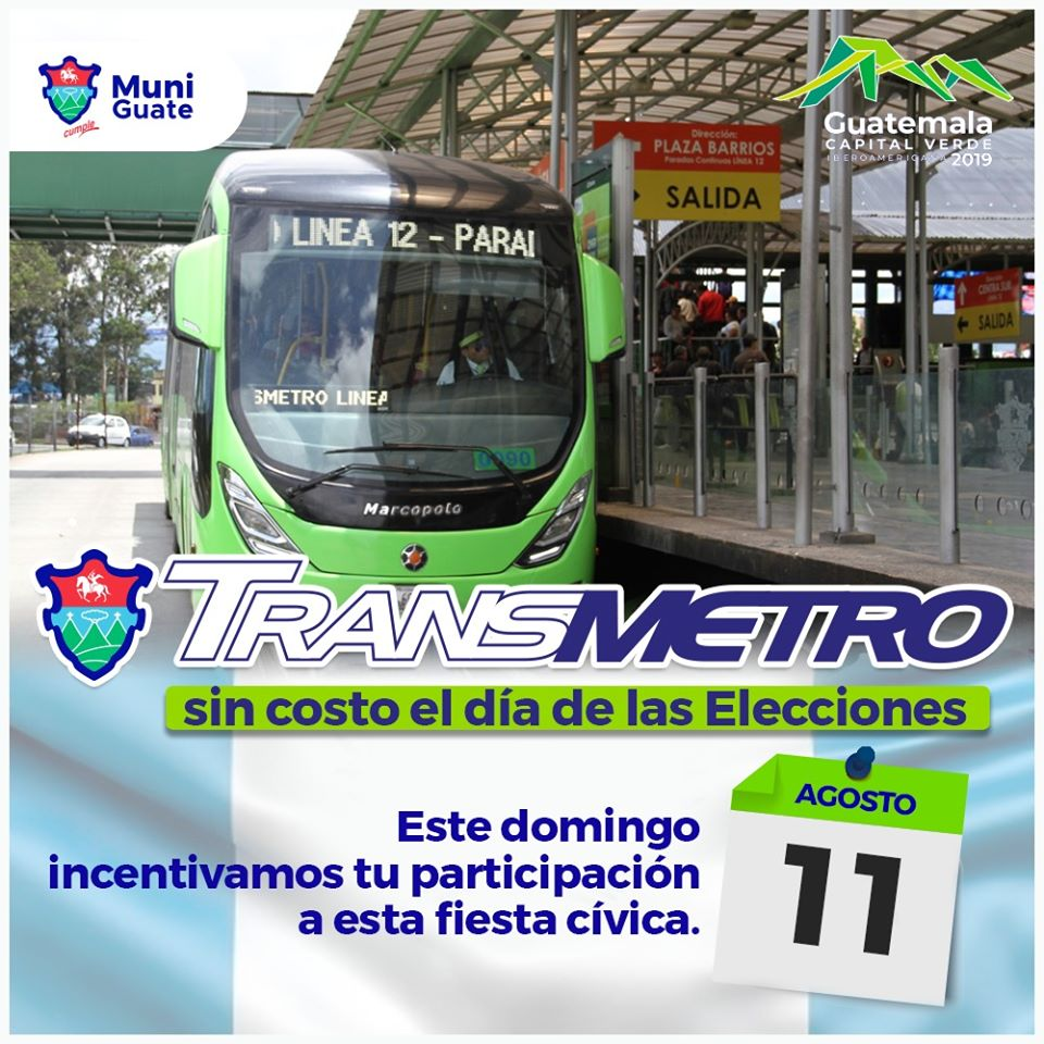 Transmetro será gratis por segunda vuelta electoral del 11 de agosto de 2019