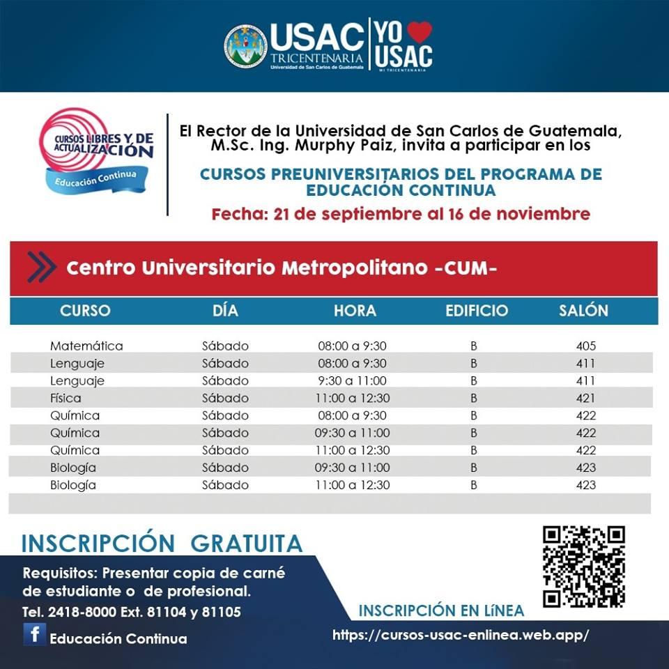 Cursos gratuitos USAC