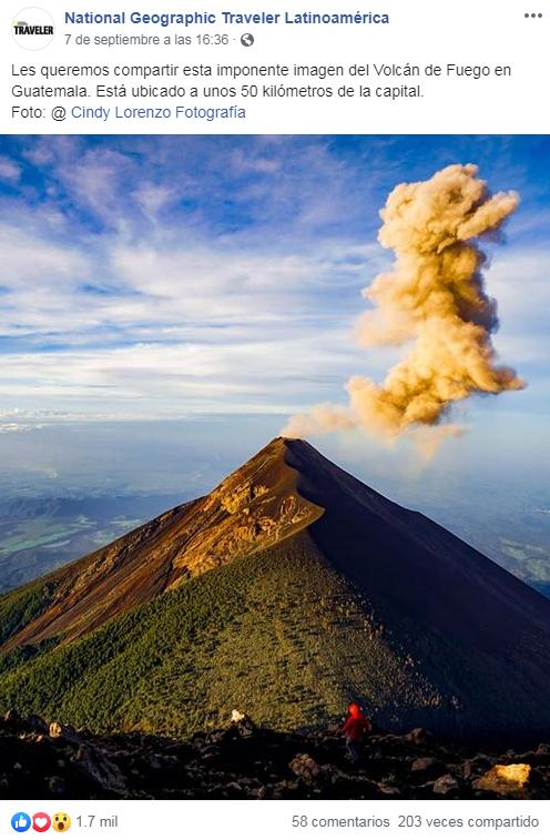 Foto del Volcán de Fuego captada por guatemalteca fue destacada en National Geographic