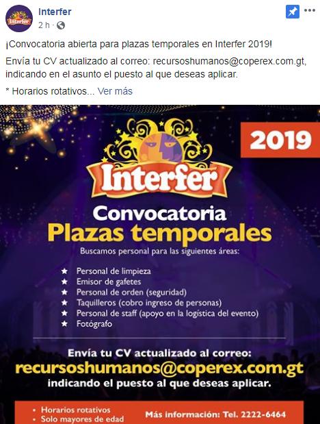 Interfer ofrece oportunidad de empleo temporal para los guatemaltecos en 2019