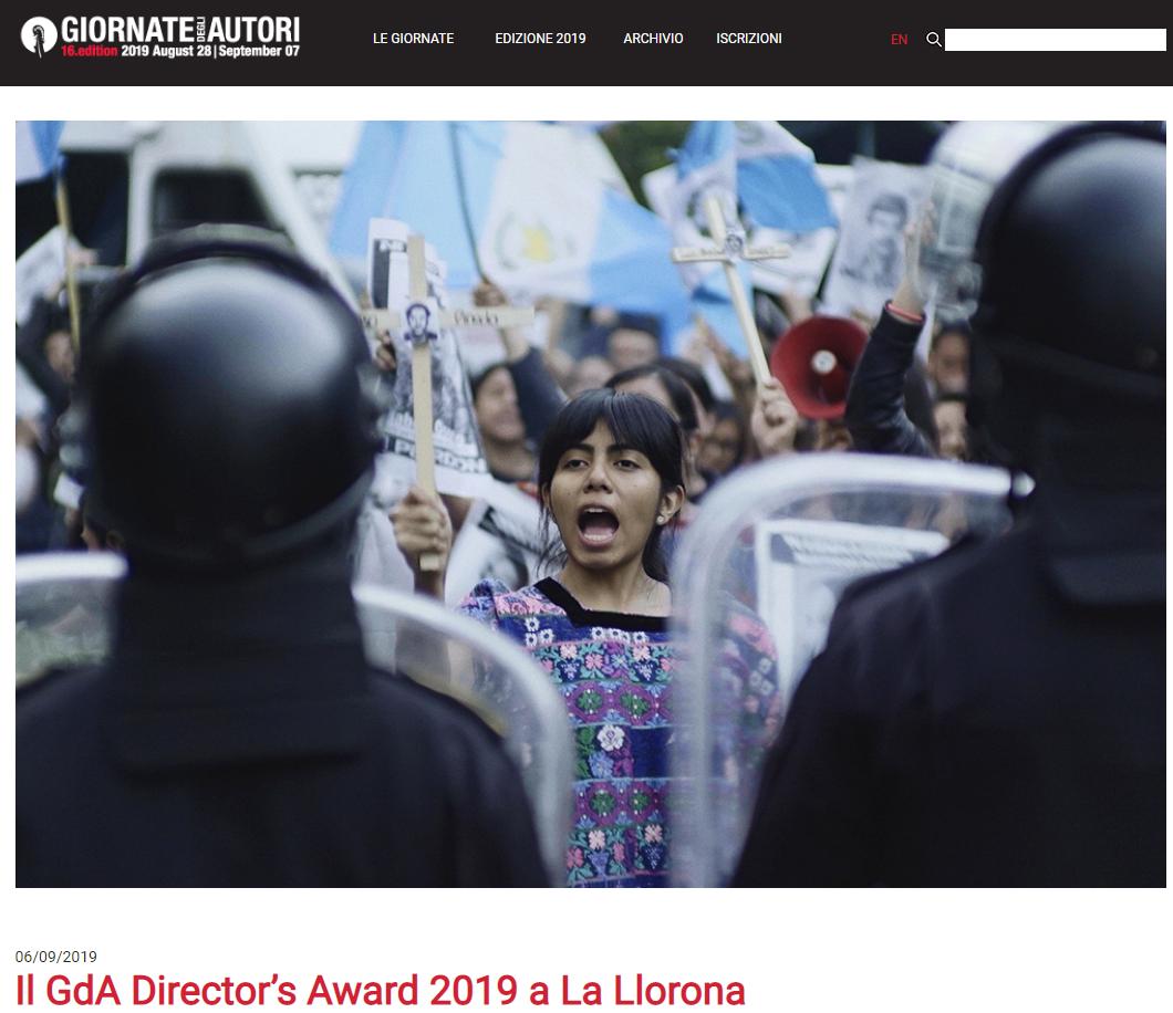Jayro Bustamante ganó el premio GdA Director's 2019