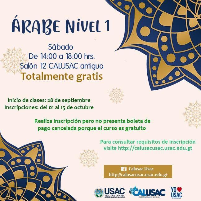 Inscripciones para el curso gratuito de idioma árabe en Calusac