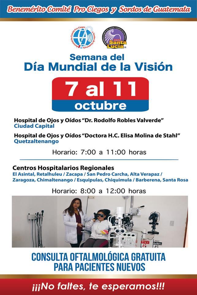 Jornada oftalmológica gratuita para adultos y niños en Guatemala, en octubre 2019