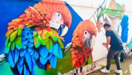 Artistas elaboraron coloridos murales en el municipio de Morales, Izabal