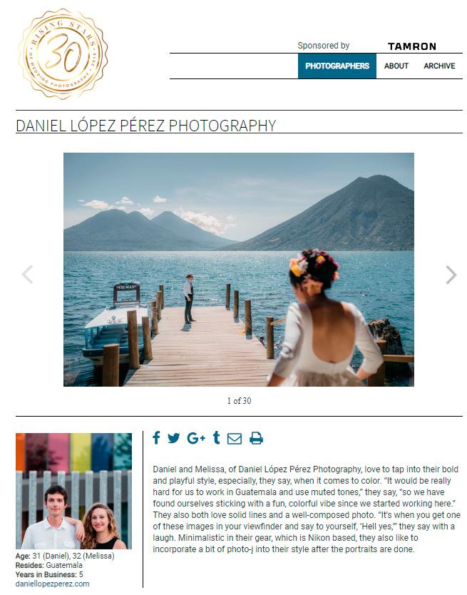 Fotografías de bodas en Guatemala destacan en la prestigiosa revista Rangefinder