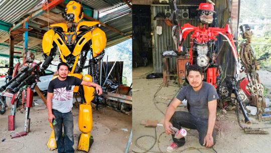 Originario de Quiché fabrica robots con piezas de carros, motos y bicicletas