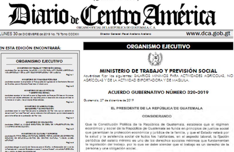 Aumenta el salario mínimo en Guatemala para el 2020
