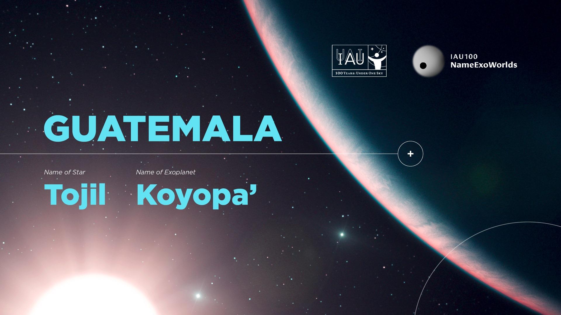 Guatemala nombró una estrella y un exoplaneta en la constelación de Eridanus