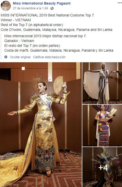 Stephanie Sical es una de las ganadoras del mejor traje nacional en Miss Internacional 2019