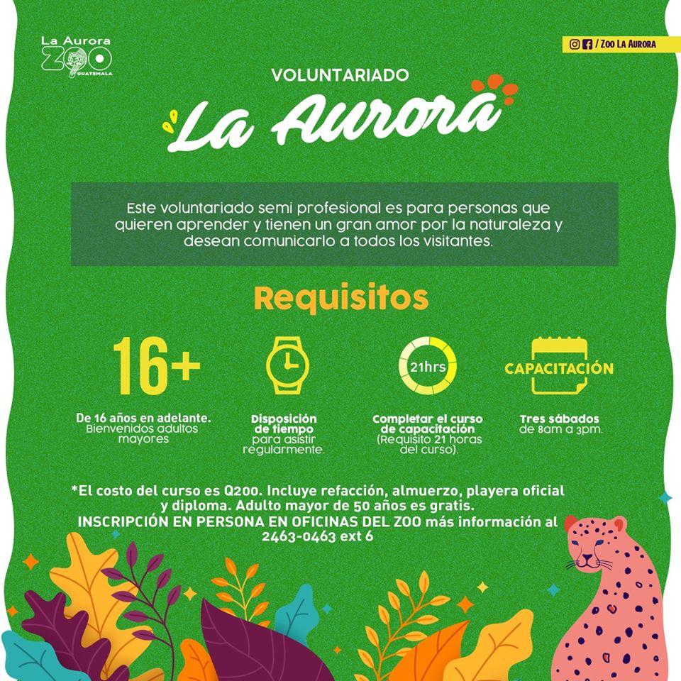 Convocatoria para ser voluntario del Zoológico La Aurora en Guatemala en enero 2020