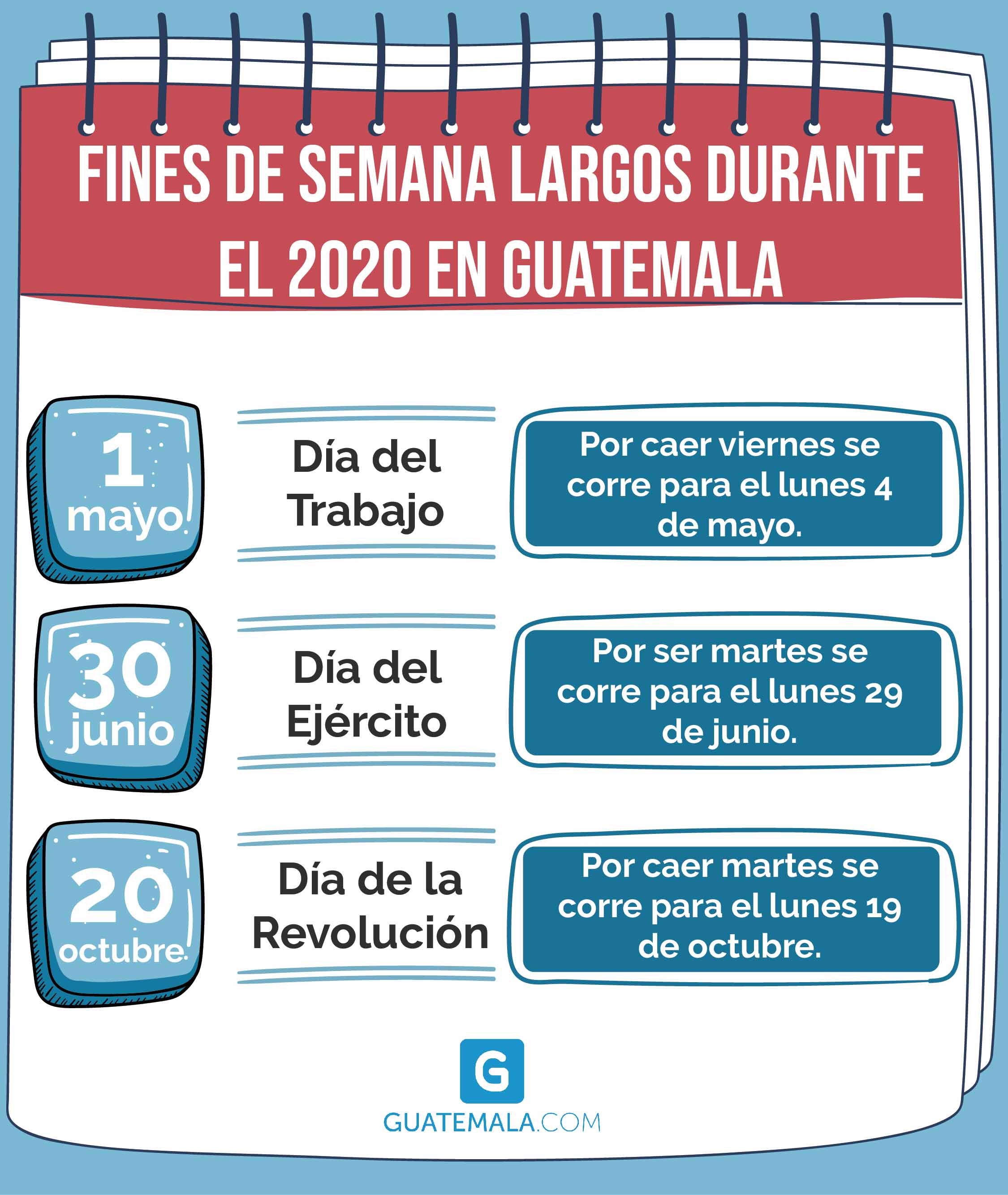 Fines de semana largos del 2020 en Guatemala