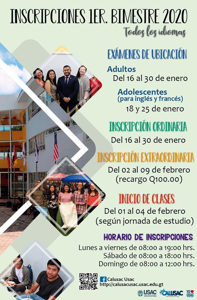 Inscripciones para los cursos en Calusac en enero 2020