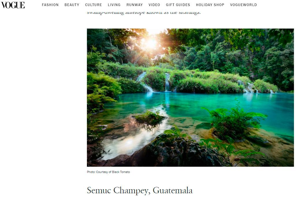 Semuc Champey entre los 10 mejores lugares para viajar en 2020, según Vogue