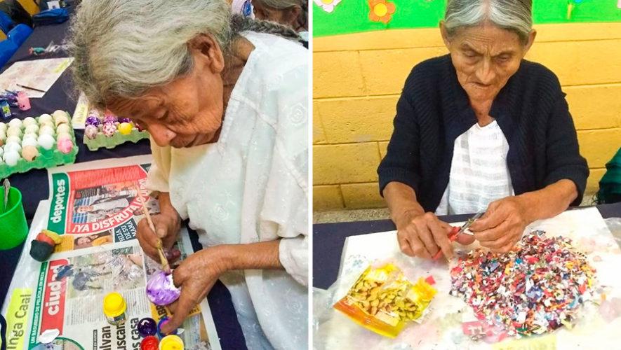 Abuelitos elaboran y venden cascarones y pica pica para carnaval en Cobán