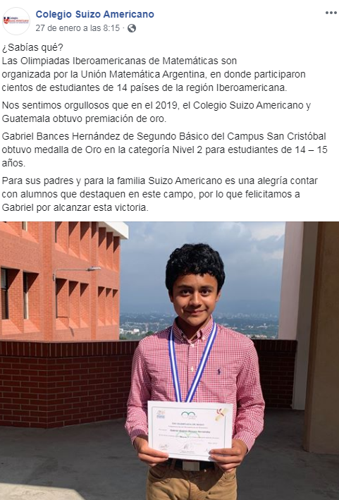 Gabriel Bances ganó medalla de oro en Olimpiada de Matemática en Argentina