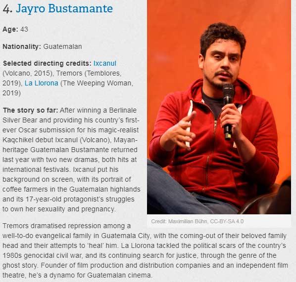 Jayro Bustamante entre los 20 cineastas del futuro, según Bong Joon Ho