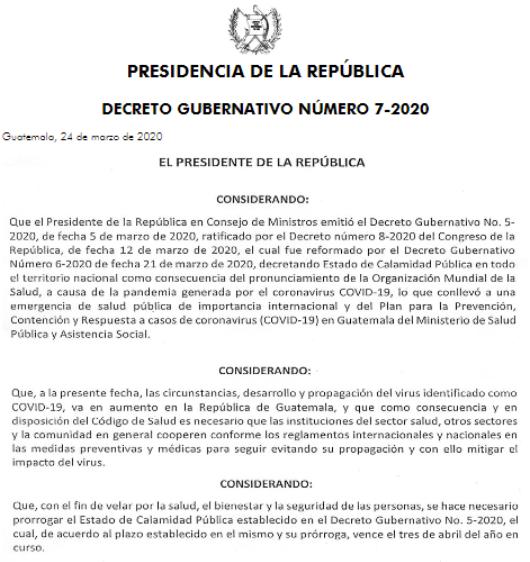 Estado de Calamidad Públia en Guatemala entra en vigencia