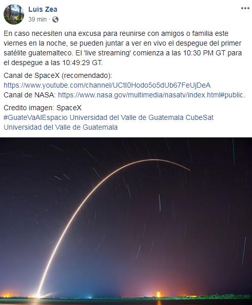 Transmisión en vivo del despegue del cohete que llevará el satélite guatemalteco