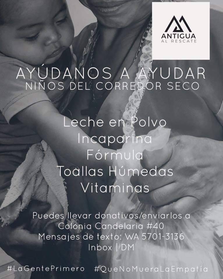 Antigua Al Rescate dona bolsas de alimentos para niños del Corredor Seco