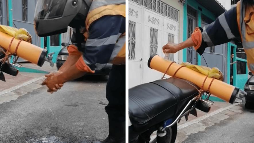 COVID-19: Guatemalteco creó ingenioso prototipo para lavarse las manos y llevarlo en la moto