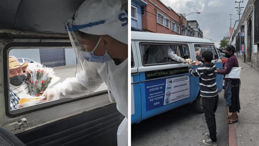 COVID-19 Kombi Solidaria regala comida a personas de escasos recursos en Quetzaltenango