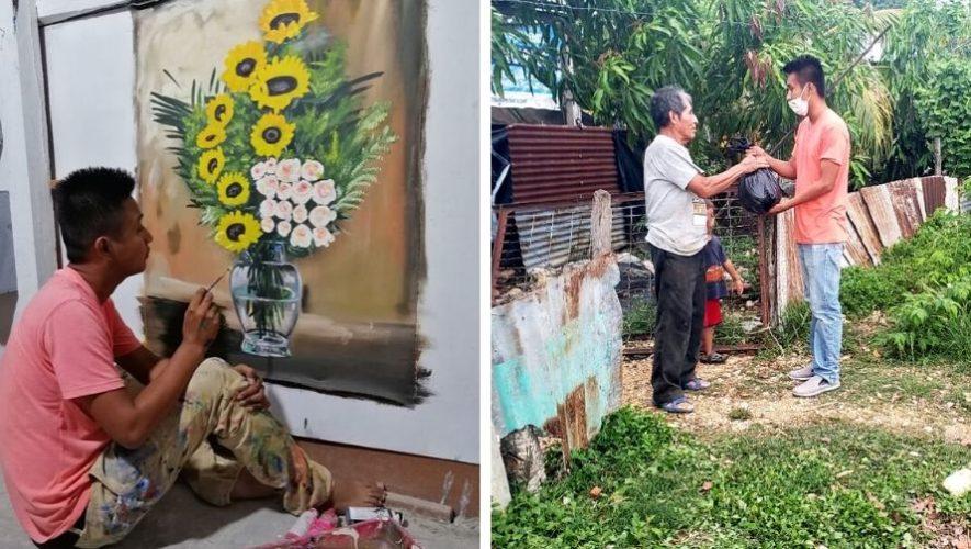 Juan Hernández, pintor de Petén, cambió sus cuadros por víveres para donar