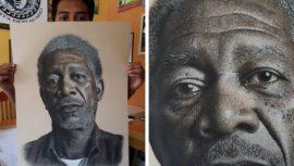 Rudy Niz, el guatemalteco que hace impresionantes dibujos de retrato
