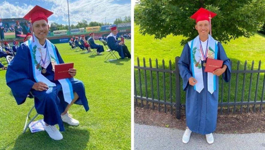 Abimael Lemus se graduó en Estados Unidos portando una bandera de Guatemala