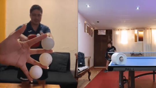 Allan Gutiérrez demostró sus habilidades con la raqueta en las redes sociales
