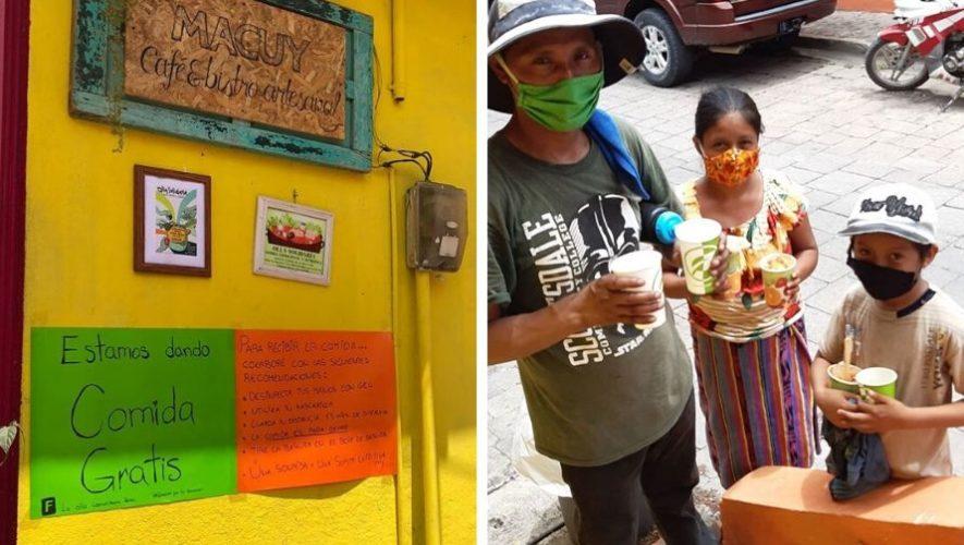 Café Macuy brinda comida gratis a pobladores de Isla de Flores, Petén