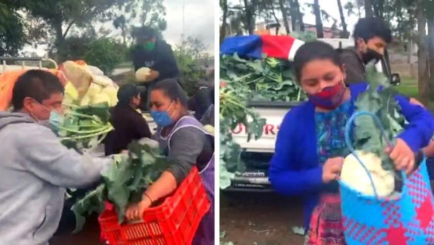 Familia regaló dos camiones de verduras a pobladores de Zaragoza, Chimaltenango