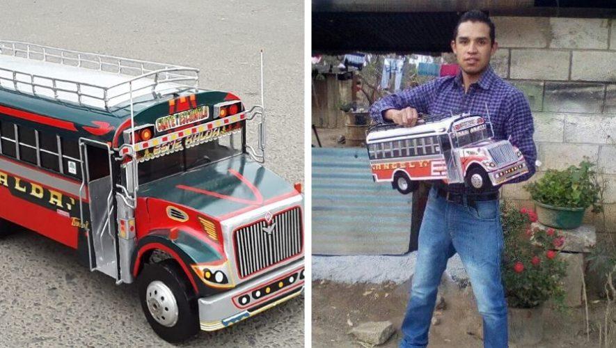 Kevin Francisco Manzo elabora buses extraurbanos a escala en San Juan Sacatepéquez