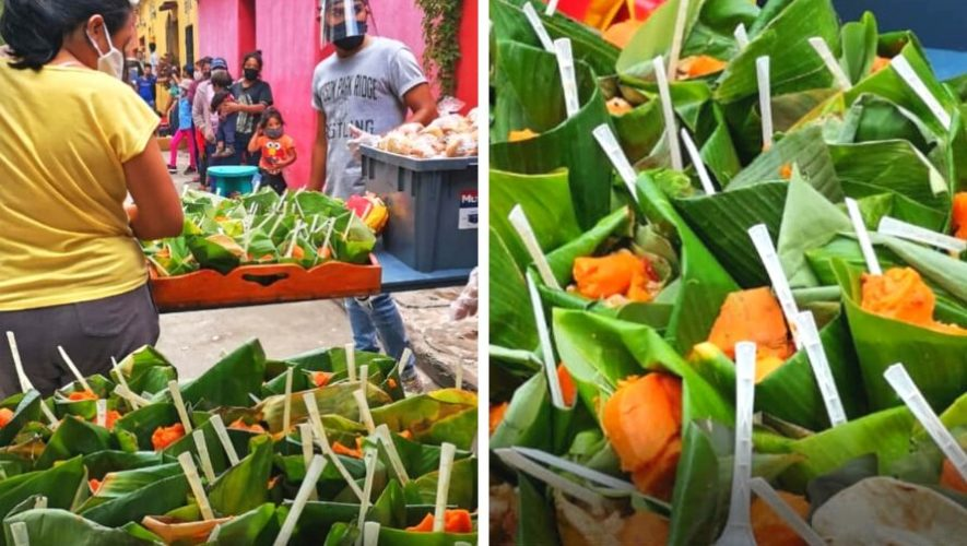 La Olla Comunitaria Antigua Guatemala regaló comida en recipientes ecológicos