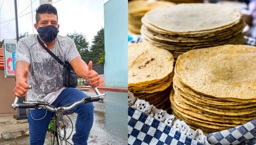 Josué Chan el quetzalteco que reparte tortillas a domicilio en bicicleta