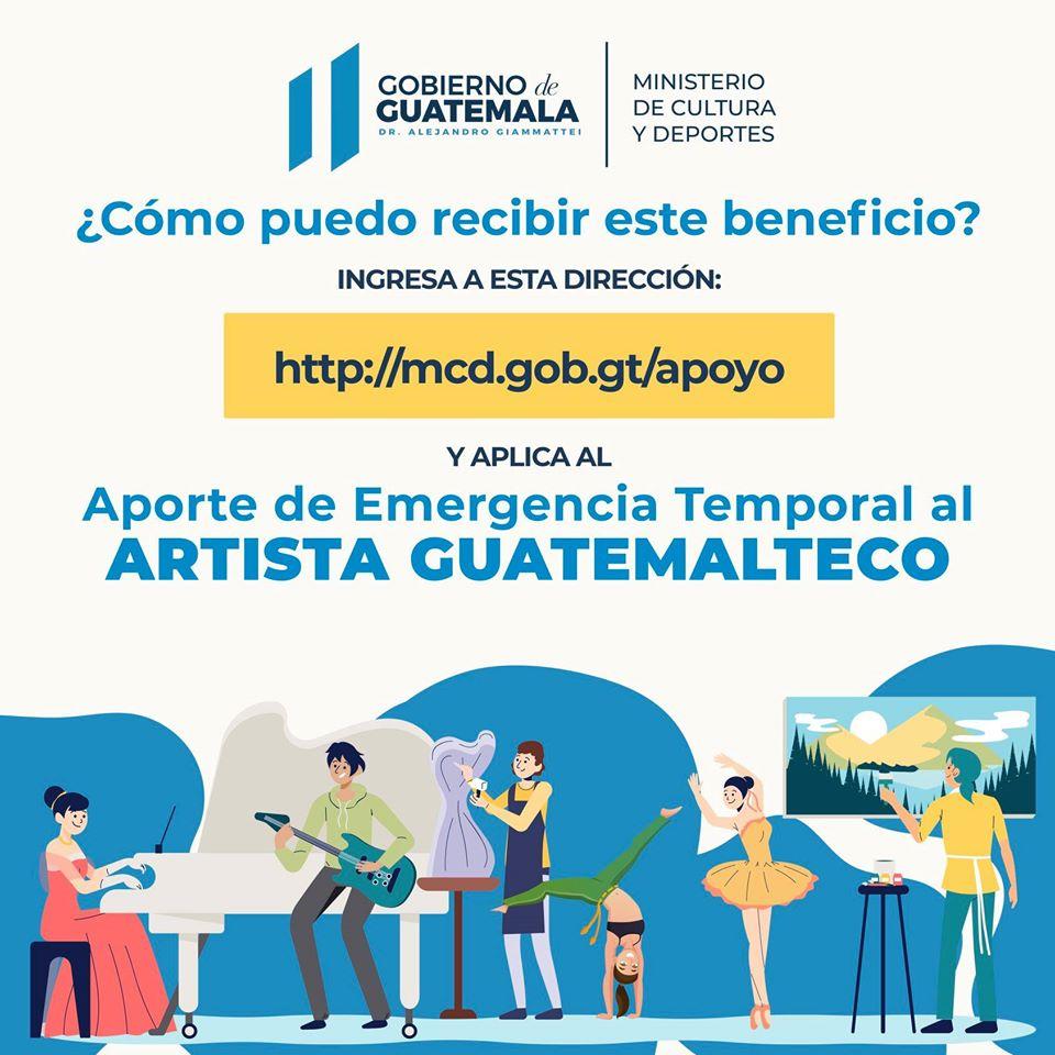 Artistas guatemaltecos podrán optar a Aporte de Emergencia Temporal durante COVID-19