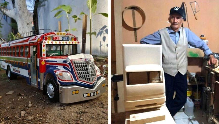 Carlos Román, abuelito de 81 años, crea vehículos de madera en Chimaltenango