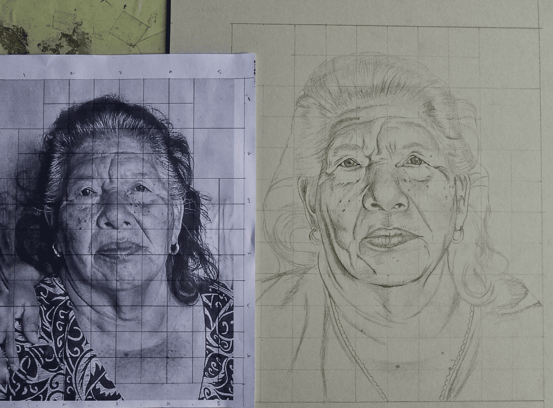 Dibujo hecho a lápiz originario de Huehuetenango