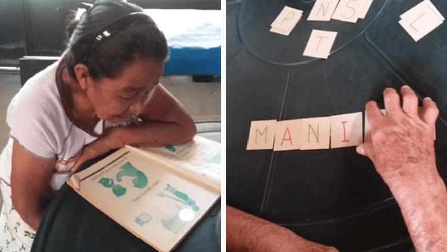 Dolores Morales, de 71 años, recibe clases para aprender a leer y escribir en Amatitlán