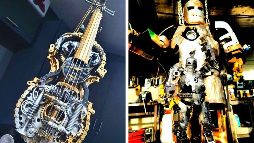 Edgar Echeverría sorprende con sus esculturas hechas de metal reciclado