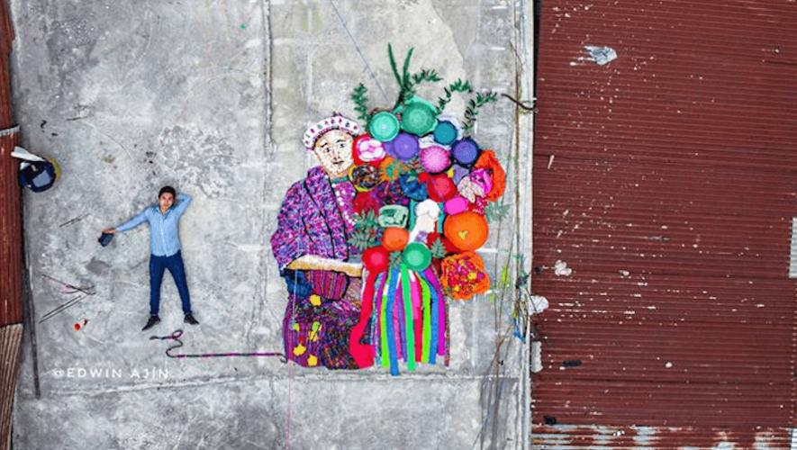 Edwin Ajin hizo una figura a gran dimensión inspirada en la mujer de San Pedro Sacatepéquez 2020