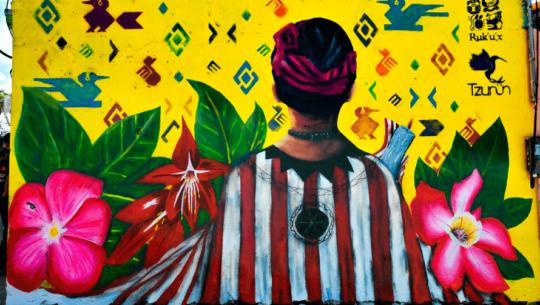 Colectivo de Arte Tz'unün elaboró coloridos murales en San Lucas Tolimán, Sololá