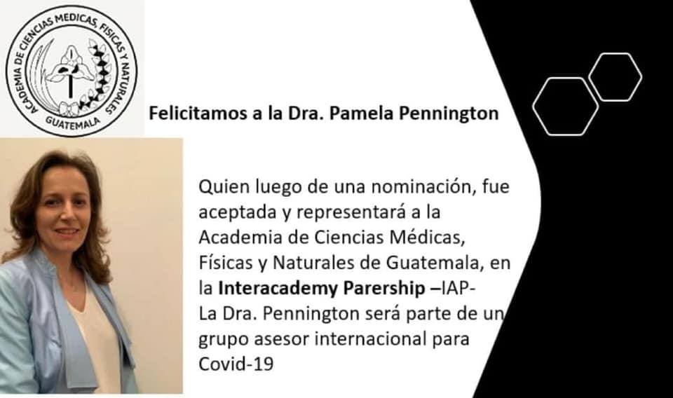 Pamela Pennington es parte de grupo asesor internacional para contrarrestar el COVID-19