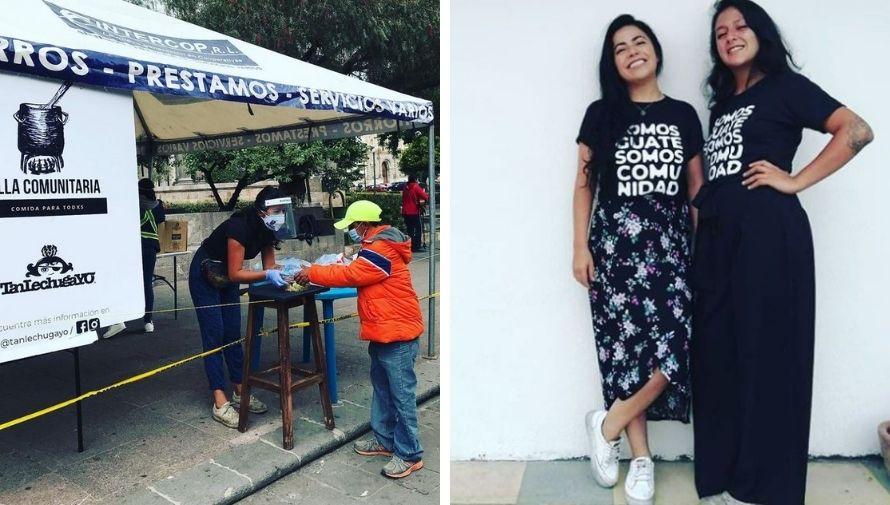 Guatemaltecos venden playeras para apoyar a la Olla Comunitaria de Quetzaltenango
