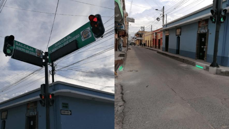 Salcajá implementó pruebas de semáforos peatonales inclusivos