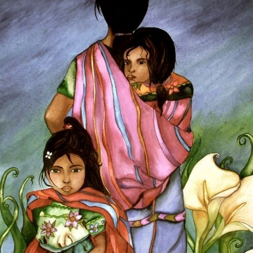 artista-canadiense-retrata-cultura-maya-guatemala-impresionantes-pinturas-cultura-familia