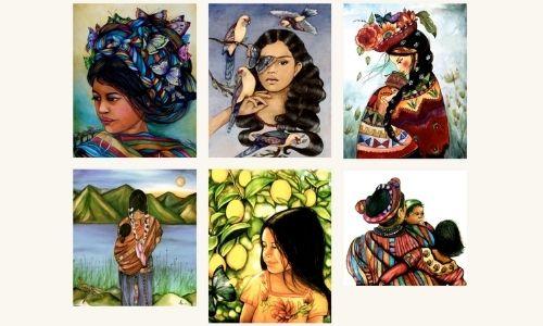 artista-canadiense-retrata-cultura-maya-guatemala-impresionantes-pinturas-mujer-guatemalteca