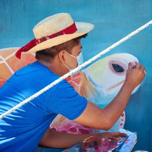 artistas-elaboraron-mural-palin-proyecto-latinoamericano-pintores-cultura-cosmovisión-poqomam