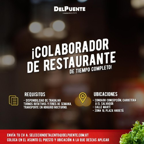empleo-2020-empresas-ofrecen-trabajo-permanente-guatemala-del-puente-colaborador-restaurante