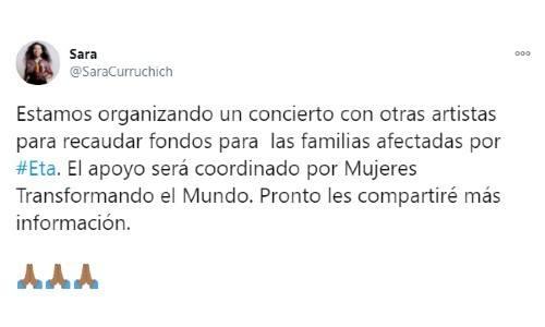 sara-curruchich-anuncio-concierto-damnificados-depresion-tropical-eta-twitter-recaudar-fondos